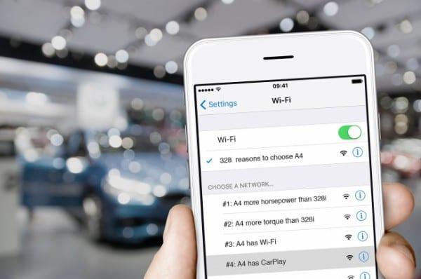 Audi「A4」がBMW「328i」より優れていることが一目でわかる無料Wi-Fi!?