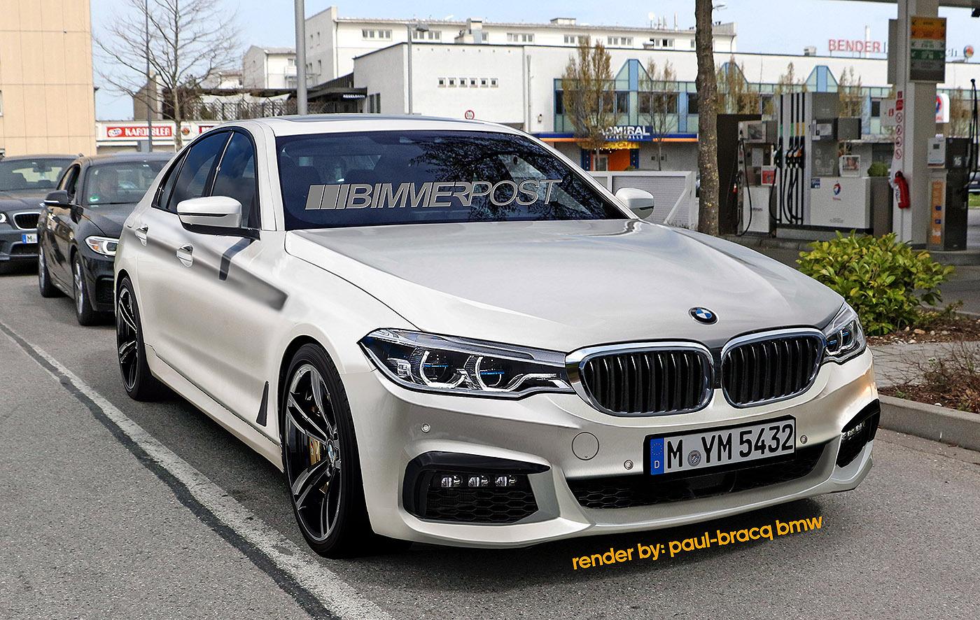 次期BMW5シリーズMスポーツ(G30)アルピン・ホワイトのカモフラージュなしのレンダリング画像!!