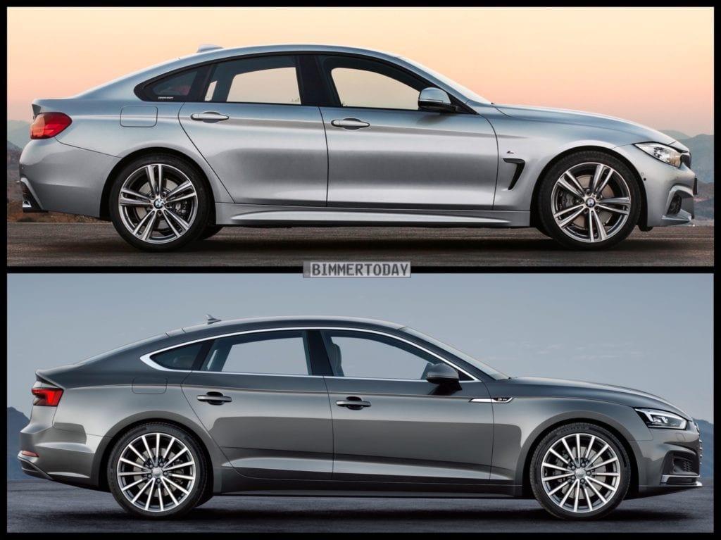 BMW4シリーズグランクーペとパリモーターショーで発表されたアウディ新型A5スポーツバックの比較写真が興味深い!