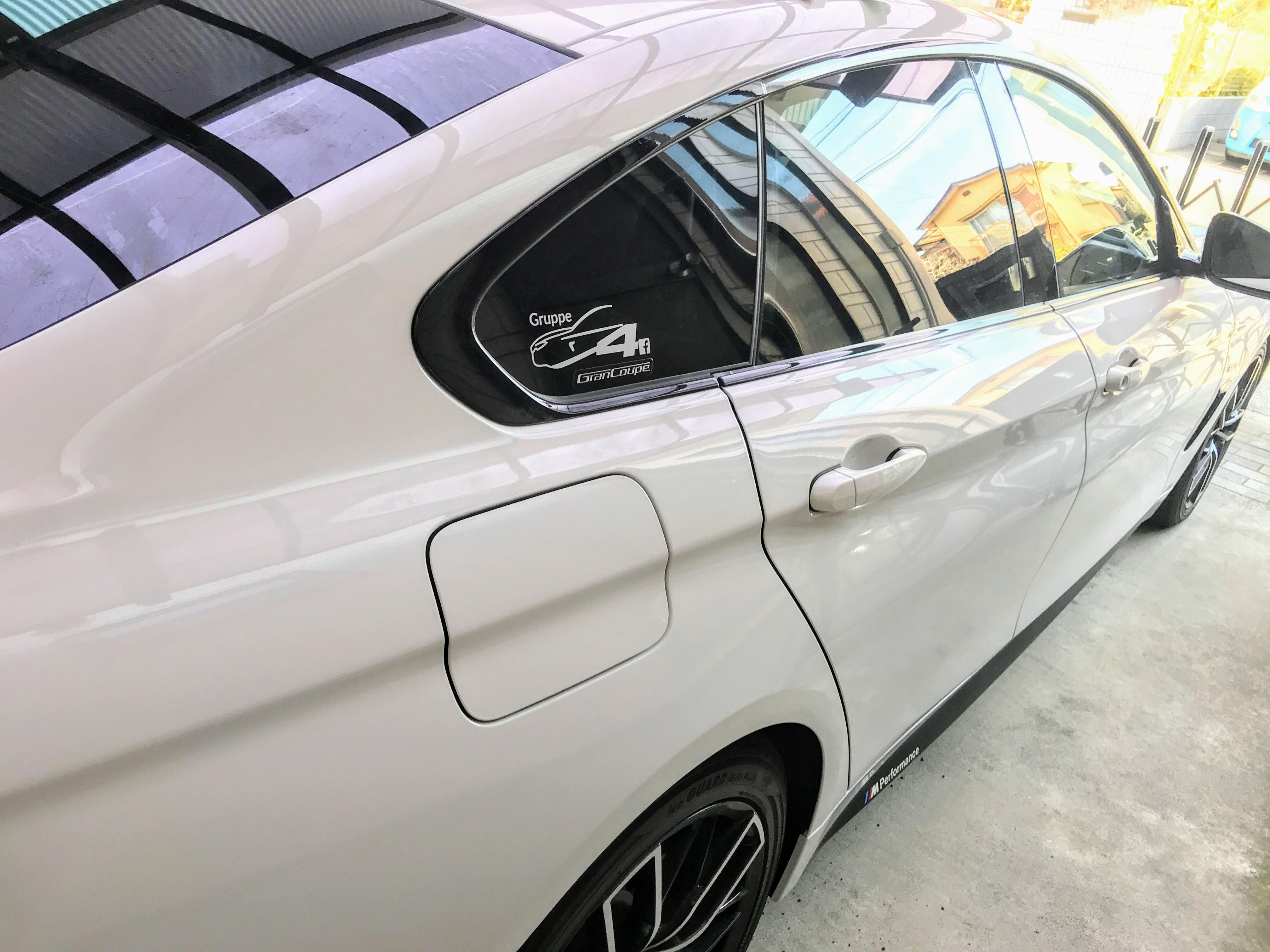 BMW4シリーズグランクーペにステッカー装着^^白かシルバーのどちらにするか悩みました^^;