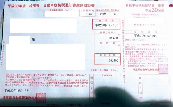 今年もこの季節が。。自動車税納付書が届きました^^;