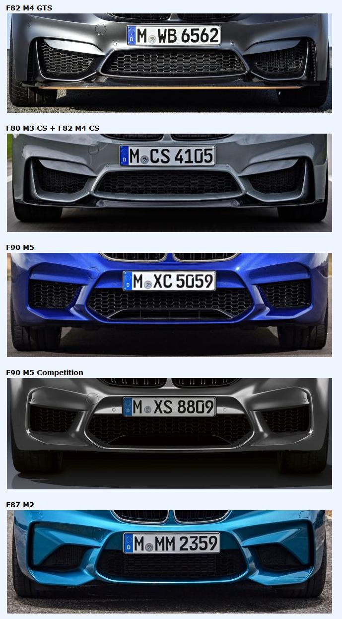 BMW E39 M5から最新M2 Competitionまでの20車種のMモデルのフロントバンパー比較記事が興味深い^^どのデザインが好みですか?