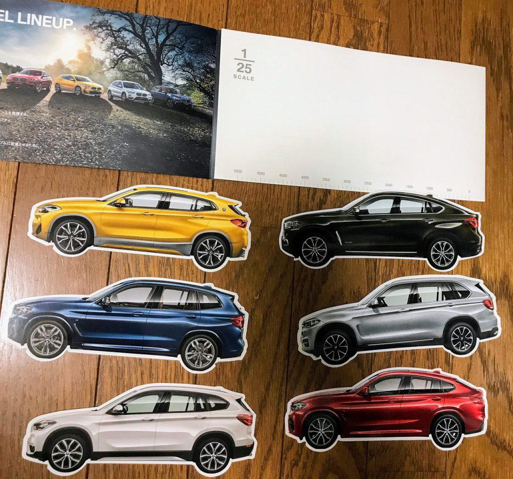 BMWのDMが最近かなり凝ってて素敵^^1/25モデルのXシリーズのサイドビューのペーパーカードなど