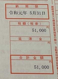 自動車税納税通知書が2通届きました。合わせて6万超えは痛い^^;