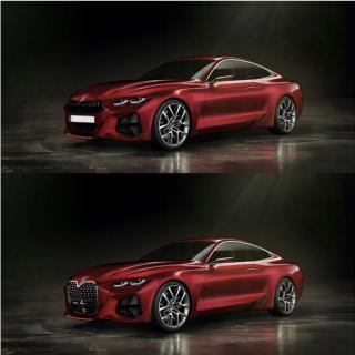 BMW新旧4シリーズコンセプトカー対決&コンセプト4のキドニーグリルを通常サイズにするとどうなる?