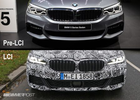 BMW5シリーズM Sport(G30)のLCIモデルの偽装が薄い最新スパイショット!現行モデルとの比較画像