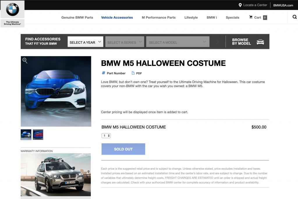 BMW USAがメルセデス・ベンツAMG E53にBMW M5のコスチュームを被せたユニークなハロウィンツイート!しかもM5コスチュームは実際に販売!?