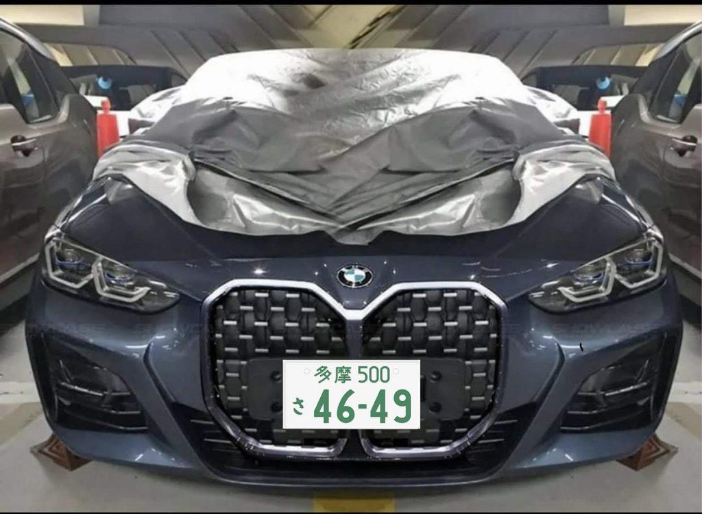日本のナンバープレートを次期BMW新型4シリーズの巨大キドニーグリルのリーク写真に合成してみた^^;