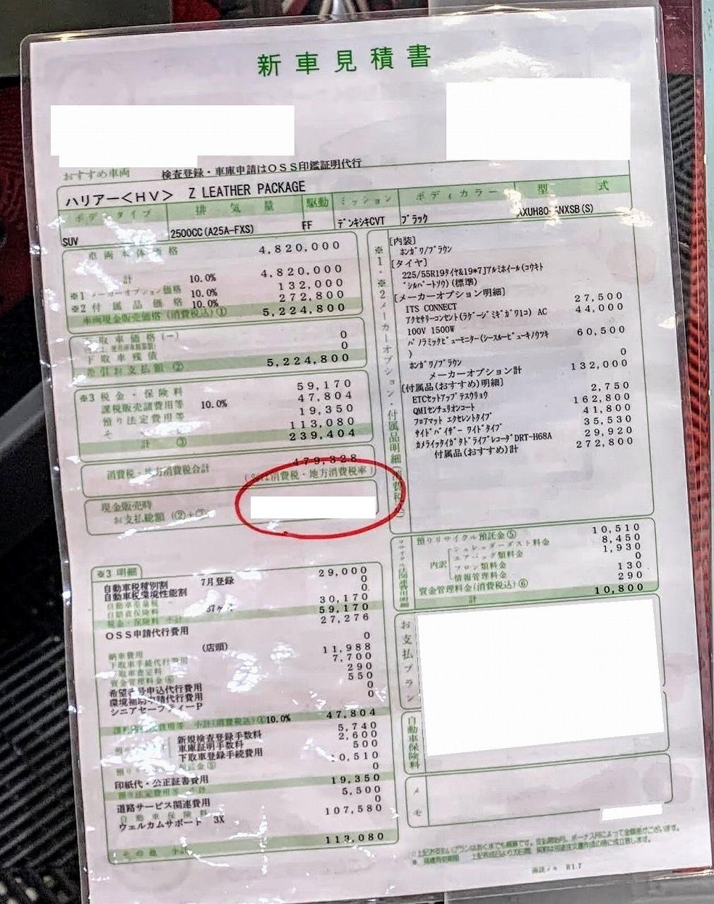 新型ハリアーの見積書2枚公開!トップグレード「HVハイブリットZレザーパッケージ」と中間グレード「Gガソリン車FFモデル」の乗り出し価格は?