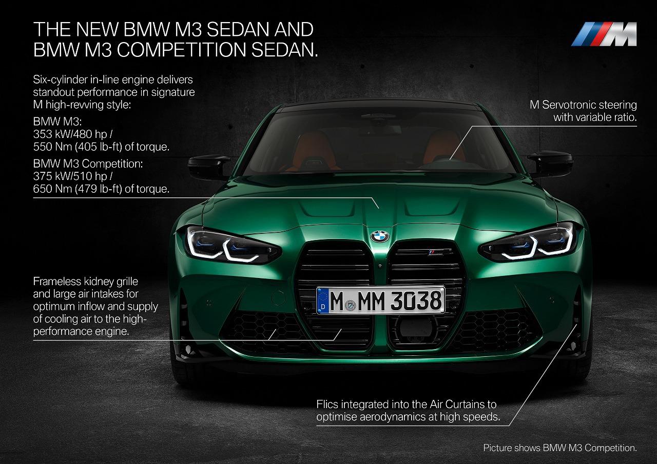 BMW新型M3,M4ワールドプレミア!巨大キドニーグリルにボディ大型化でM3は全幅1.9m超、前後異径サイズホイールも。