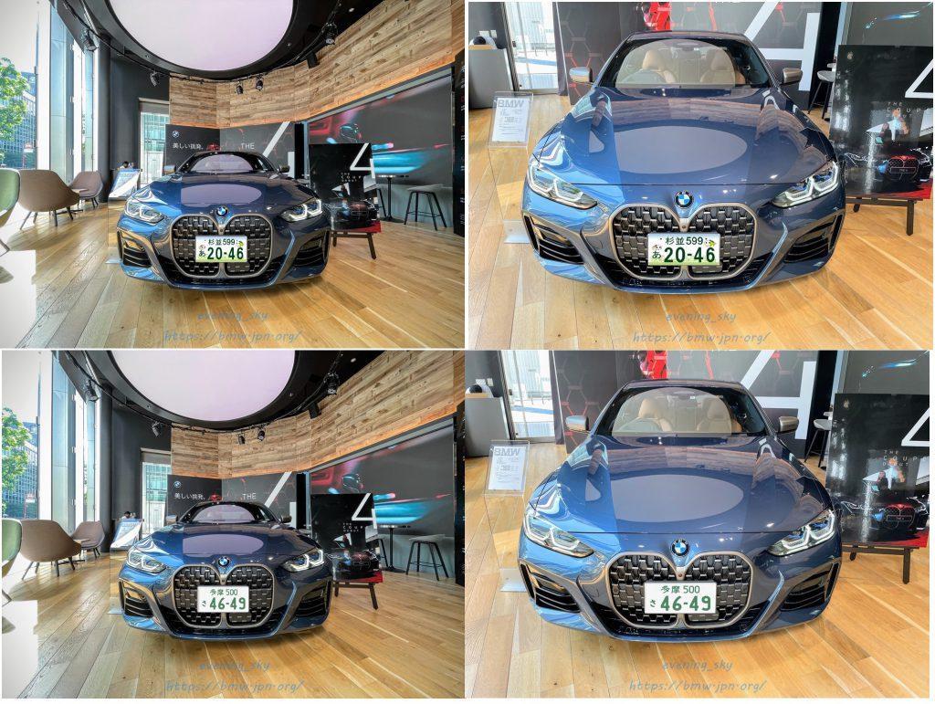 先日見てきた新型BMW4シリーズクーペ(G22)の展示車に日本のナンバープレートをつけてみました^^