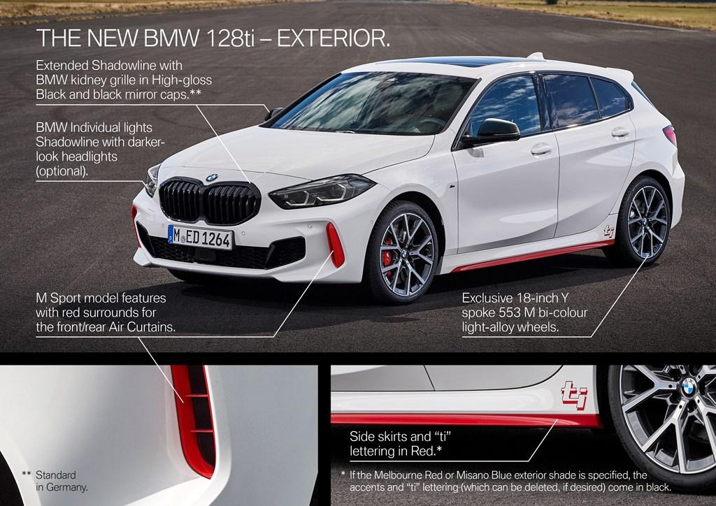 「ti」モデル復活!BMW1シリーズ「128ti」ワールドプレミア!FF265馬力のホットハッチ!内外に赤のワンポイントデザイン