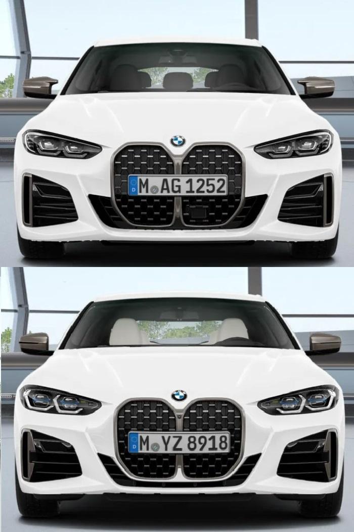 新型BMW4シリーズグランクーペ(G26)ではクーペ(G22)と比べて巨大キドニーグリルが目立たなくなる変更が加えられています(^_^;)