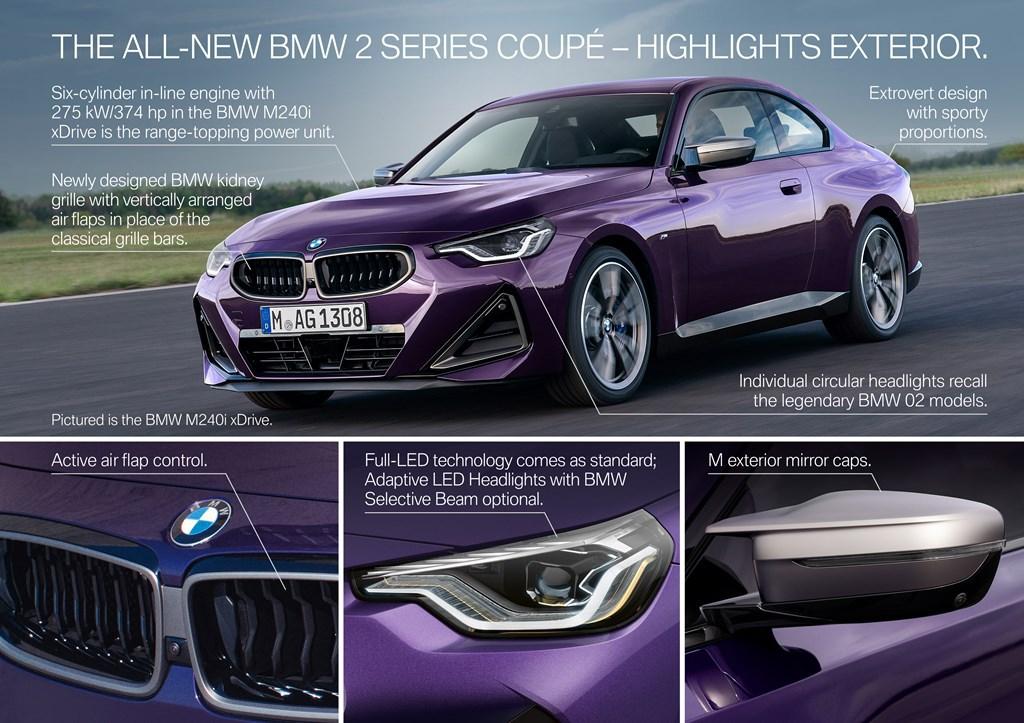 BMW新型2シリーズクーペ(G42)世界初公開!マルニ譲りの二灯式のヘッドライトが個性的!M240iのドリフト走行シーン動画も。